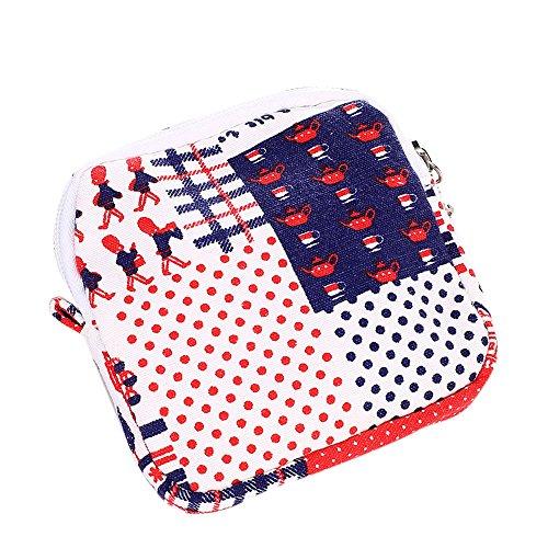 Longra Donna Stoccaggio Cosmetic Bag Borsa in cotone lana Rosso Exclusivo 1j0BeRVX