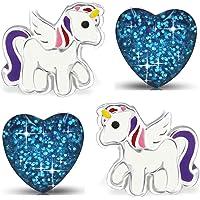 Mädchen Pferde Ohrringe echt 925 Sterling Silber Edelstahl Einhorn Herz