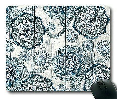 Motif floral bleu marine Doodles sur bois rectangle Tapis de souris, de souris Gaming par