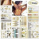 ISUDA Temporäre Tattoos Gold, Flash Tattoo Metallic, Festival Golden Silber Tattoo Aufkleber, Tätowierung Wasserdicht, Über 200 Designs, für Körper Damen Frauen Kinder Braut