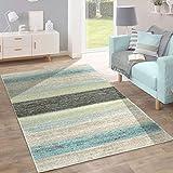 Paco Home Designer Teppich Modern Wohnzimmer Farbverlauf Streifen Muster Pastell Grün Blau Creme, Grösse:120x170 cm