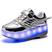 Axcer LED Luci Brillantini Scarpe Sportive con Rotelle Retrattile 2 Ruote Skateboard Sneakers Outdoor Multisport…