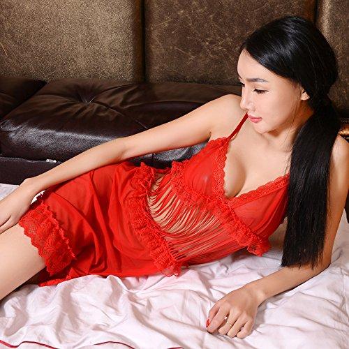 YFF@ILU Amante dono Ms. intimo seta ghiaccio garza trasparente cinghie di incisione accappatoio , il (Big Sleepwear Alto)