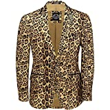 Xposed Mens Leopard Rosette Deep Gold Printed Italian Designer Suit Jacket Fitted Blazer
