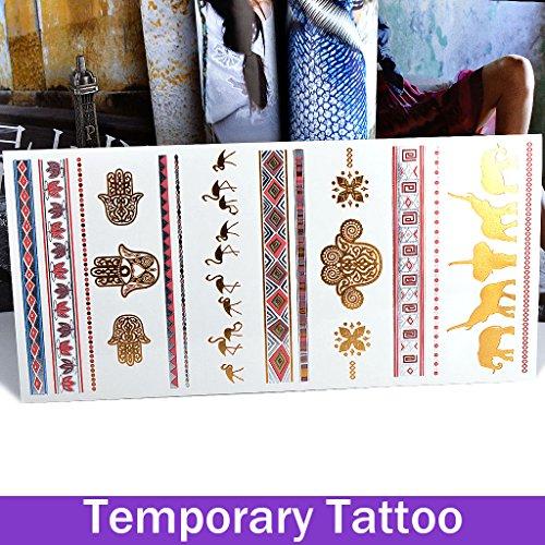 Elefant Metallic Folienprägung Cool Body Art abnehmbarer Fake Tattoos Papier Aufkleber (Coole Fake Tattoos)