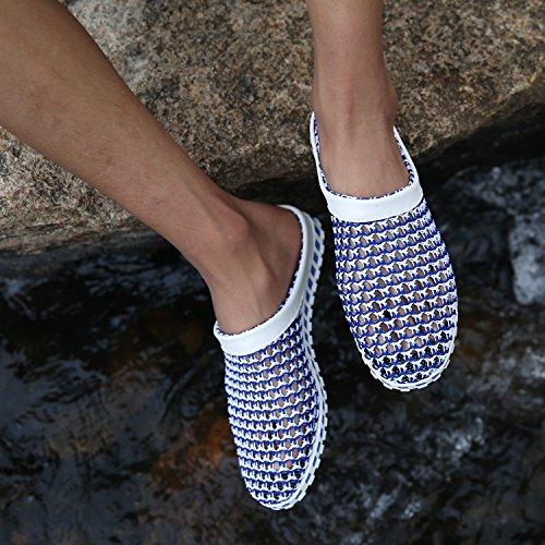 Maylen Hughes Uomo Acqua Pantofola Maglia Estate Sandalo delle Donne Scarpe a Scoppio di Spiaggia Blu