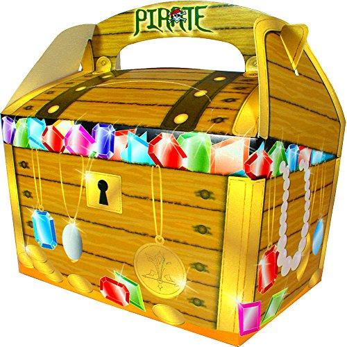 German Trendseller® - 8 x Piraten Schatzkisten ┃ Diamanten ┃ Rubys ┃ Piraten Party Boxen mit Griff ┃ Piraten Loot ┃ Kindergeburtstag