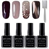 Vernis Gel Semi Permanent UV LED - Gellen Vernis à Ongles Nail Gel Soak off Oeil de Chat Magnétique Manucure Kit (1 Bâtonnet d'aimant Offre) 4×10ml #Mix001