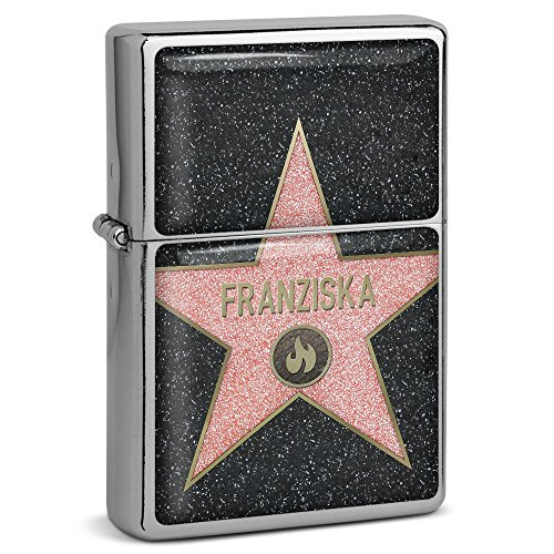 PhotoFancy® - Sturmfeuerzeug Set mit Namen Franziska - Feuerzeug mit Design Walk of Fame - Benzinfeuerzeug, Sturm-Feuerzeug