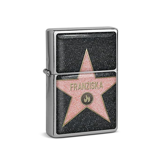 PhotoFancy® - Sturmfeuerzeug Set mit Namen Franziska - Feuerzeug mit Design Walk of Fame - Benzinfeuerzeug, Sturm…