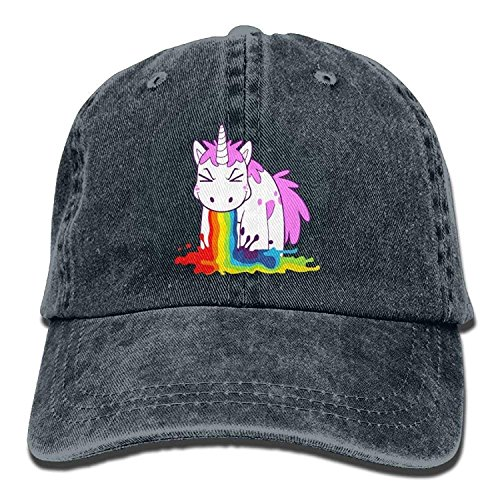 Personality Caps Hats Unicorn Spit Rainbow Water Denim Hat Adjustable Women Plain Baseball Hat