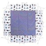 LULANDO Materassino Per Box Giochi Per Bambini 75x100cm o 100x100cm Oeko-Tex Standard 100, Colore: Airplanes/Stripes, Dimensioni: 100 x 100 cm