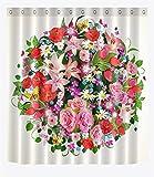 TS-nslixuan Duschvorhang Wasserdicht und Mildewproof Polyester dekorieren Sie Ihr Leben digital gedruckten Badezimmer Duschvorhang 180X180 cm (72x72 Zoll) Duschvorhang Blume Runde 3 D Persönlichkeit