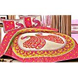 "Palchin Creations Pure Cotton Printed Queen Size Double Bedsheet With 2 Pillow Cover - Pink Colour (90""x100"" Inch)"