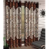 Home Pictures Darbar Panel Polyester Curtains (Set of 4) Door - 4 x 7 Feet (Brown)
