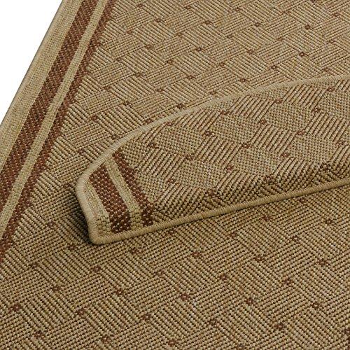 Stufenmatten beige-terra mit rautenförmigem Muster | Qualitätsprodukt aus Deutschland | kombinierbar mit Läufer | 65x23,5 cm | halbrund | 15er Set