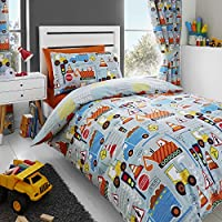 Happy Linen Co Big Digger Trucks Tractor JCB Boys Kids Grey Blue Single Duvet Cover Bedding