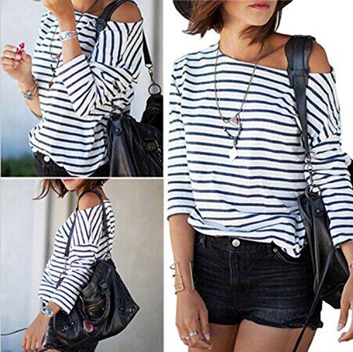 Minetom Damen T-Shirt Bluse Gestreift Schulterfrei Langarmshirt Top T-Shirt Oberteil Streifen
