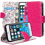 iPhone 6 case, iPhone 6 Flip Case, E LV Apple iPhone 6 Case Cover - PU Leather Flip Folio Wallet Case Cover for Apple iPhone 6 4.7 inch - HOT PINK