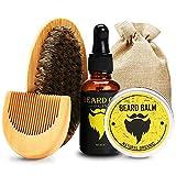 Kit de cuidado de la barba para hombre, kit de aceite de bigote para barba, cepillo de barba y bálsamo de barba natural, set de regalo