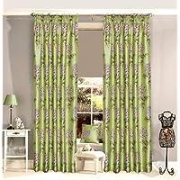 Tende con occhielli, motivo floreale, poliestere 66 x 54 pollici foderato (bow-window) Verde (oliva calce marrone crema avorio)
