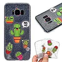 Samsung Galaxy S8 Plus / S8+ Case,Flexible Soft TPU Silcone Cover Ultra Slim Thin Transparent Bumper Extra Grip Case Anti-Scratch Full Edge Protective Shockproof Protective Gel Cover Case for Samsung Galaxy S8 Plus / S8+ - Cactus