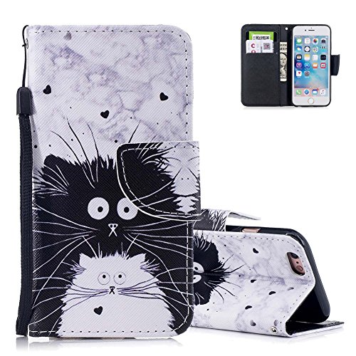 Aeeque Original Etui Portable iPhone 5S Blanc et Noir Chat Cute Motif Flip Pochette Etui en Cuir Anti Choc Housse de Protection avec Porte Carte et Fonction Support Smart Cover pour iPhone 5/5S/SE