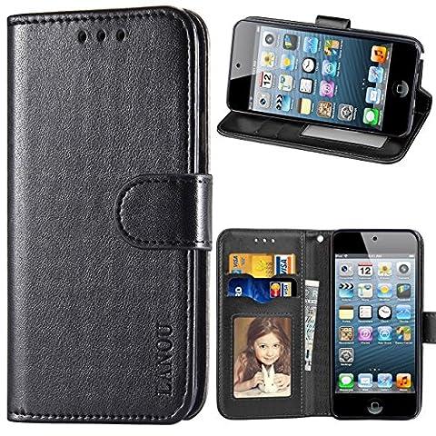 Touch Hülle, iPod Touch 5 Hülle, iPod Touch 6 Hülle, LANOU Leder Schutzhülle Handyhülle Etui Silikonhülle für Apple iPod Touch 5G 6G Case Cover - Schwarz