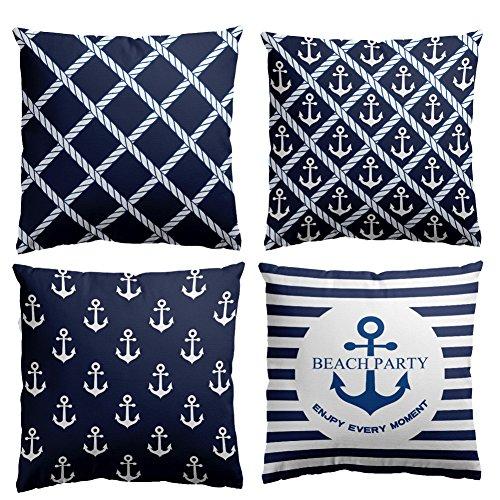 HuifengS Kissenbezüge, quadratisch, strapazierfähige Baumwolle, weich, marineblau mit Anker-Motiv, Deko für Sofas, Betten, Stühle, Set aus 4 Stück, 45 x 45 cm