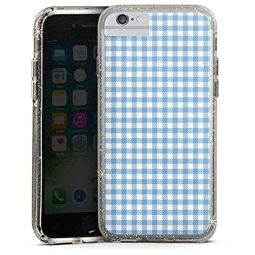 Apple iPhone 6s Bumper Hülle Bumper Case Glitzer Hülle Karo Pastel Pastell Bumper Case Glitzer gold