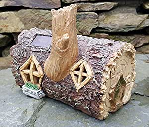 Solar powered outdoor decorative garden ornament fairy house colour changing log home lights - Wooden garden ornaments ...