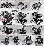 3 in 1 Kombikinderwagen Komplettset VIP – inkl. Kinderwagen, Babyschale und Sportwagen Aufsatz – 1. ALU Hartgummi Bereifung – 19. Schwarz-Weiss - 6