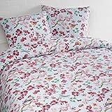 Aminata – Bettwäsche 135x200 cm Baumwolle + Reißverschluss Blumen Blümchen Rosa Rot Weiß Grün Vogel Schmetterling Tiere Blumenwiese 2-teiliges Bettwäscheset Bezug Ganzjahr Normalgröße Mädchen