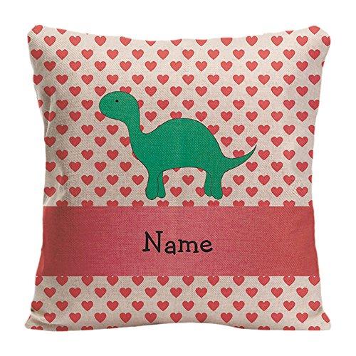 KafePross Kissenbezug, Motiv Dinosaurier mit rosa Herzen und Punkten, personalisierbar, Leinen, 1, 18x18 inch/45x45cm