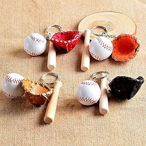 Mini-baseball Balle Bat Set Gant Pendentif Porte-clés Cadeau Sac - Marron
