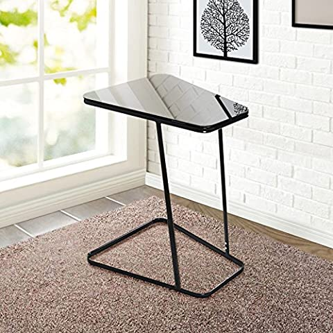 Lifewit End Table Side Snack Coffee Sofa Table Modern Tempered Glass Steel, Black