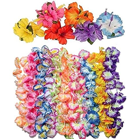 12 jumbo carnation leis +12 hibiscus hair clips -luau party pack by Unknown