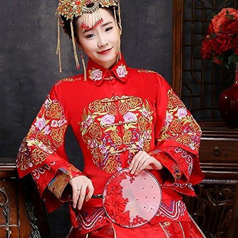 Cuisine Chinoise Wo Hommes Robes de Mariée Femmes Enceintes Shangrique Robes Robes de Mariée Chinoise à Haute Taille Rouge,UNE,XL