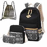Neuleben Schultaschen 4 Set Schulrucksack + Schultertasche + Geldbörse + Beutel aus Canvas für Jungen Mädchen Kinder (Schwarz B)