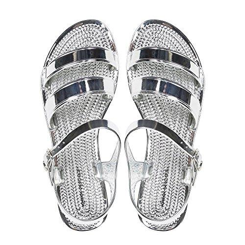 Ideal-Shoes Sandali piatti in sovrapposizione Sandra Argento (argento)