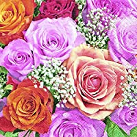 20tovaglioli colorati Rose mondo/Rose/fiori/matrimonio 33x 33cm