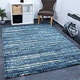 VIMODA Teppich Blau Meliert Dicht Gewebt Qualität Pflegeleicht Wohn Schlaf Kinder Zimmer Schadstoff Geprüft 160x230 cm
