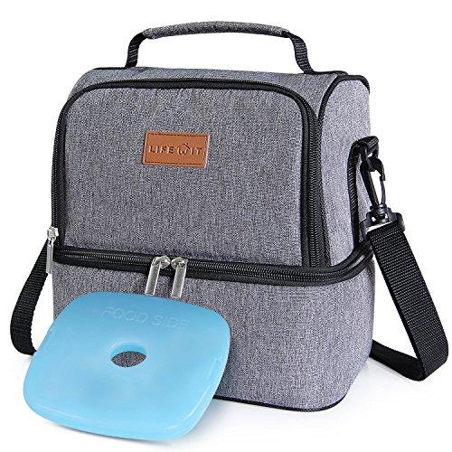Lifewit borsa termica manutenzione di freddo e caldo porta pranzo cibo alimentazione lunch box da 7litri per campeggio lavoro scuola con doppia sezione, grigio