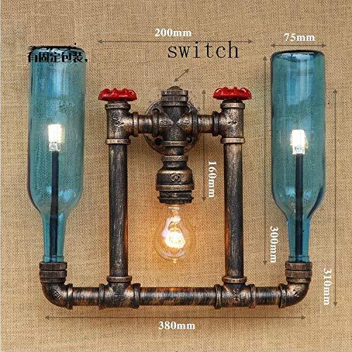 HNZZN Aplique de luces de pared vintage Tubería de agua luz loft lámpara de pared retro con interruptor Botella de vidrio Lamparas titular Dormitorio de la lámpara, B