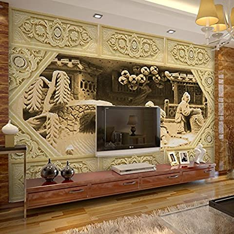 Chinese jade carving image print 3d stereoscopic wallpaper customized papel mural for home & office wall decor,300cm x