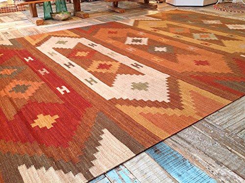 Beautiful Varanasi geométrico alfombra Kilim (lana India terracota marrón naranja 180cm x 270cm