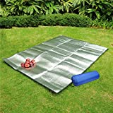 Molie 200*200 CM Moisture Proof Aluminum Foil Pad Mat Foldable Double Side Camping Mats with Carry Bag