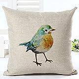 FoVo 100% Leinen Baumwolle Umweltfreundliche Vogel Kissenbezüge Kissenbezug Kissenhülle mit Reißverschluss 45x45cm Beige 15 Verschiedene Muster zur Wahl (11)
