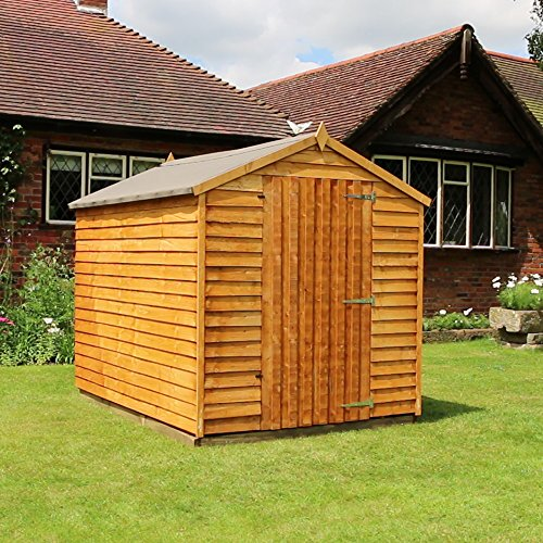8x6 overlap wooden windowless apex garden shed single for Wooden garden sheds for sale