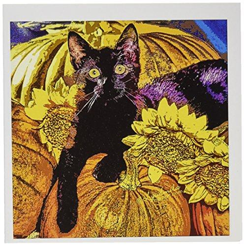 3dRose gc_4475_1 Grußkarten, Halloween-Katze, 15,2 x 15,2 cm, 6 Stück